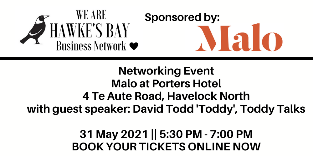 Business Networking event – 31 May 2021 at Malo